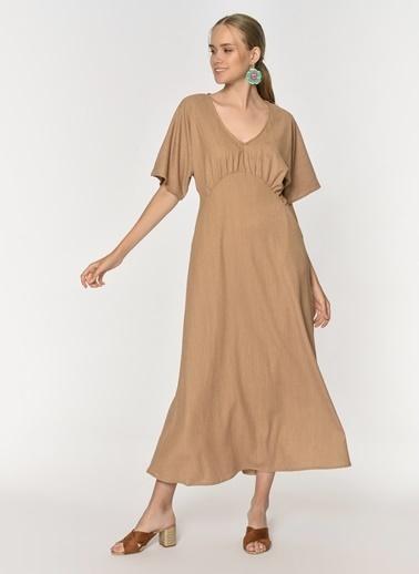 Loves You Krinkıl Düşük Kol Maxi Elbise Camel